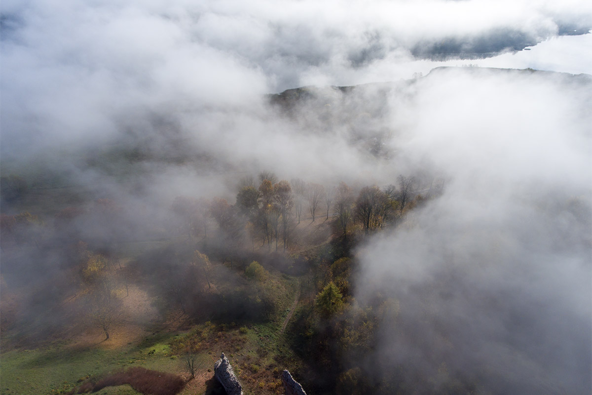 the fog above ruins of the Viljandi castle